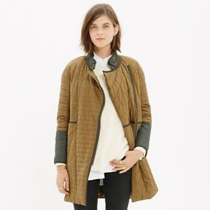 Madewell Olive Green Quilted Down Coat. Small.